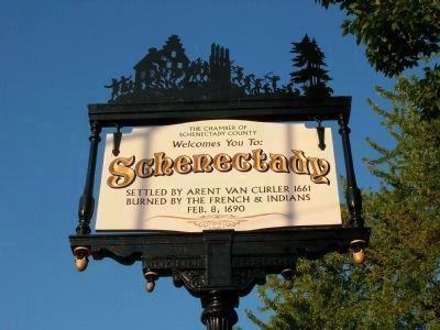 Schenectady Marker - updated and repainted in 2008 image. Click for full size.