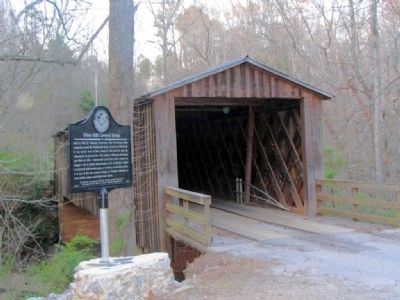 Elder Mill Covered Bridge Marker and the Bridge image. Click for full size.