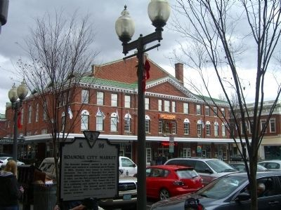 Roanoke City Market Building and Marker image. Click for full size.