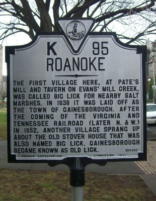 Roanoke Marker </b>front image. Click for full size.