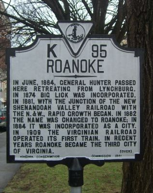 Roanoke Marker </b>reverse image. Click for full size.