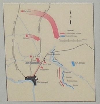 Chickahominy Bluff Battle Map from Marker image. Click for full size.