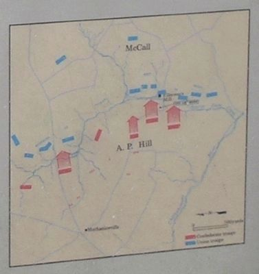 Beaver Dam Creek Battle Map from Marker image. Click for full size.