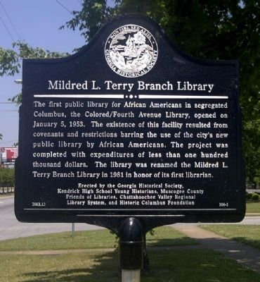 Mildred L. Terry Branch Library Marker image. Click for full size.