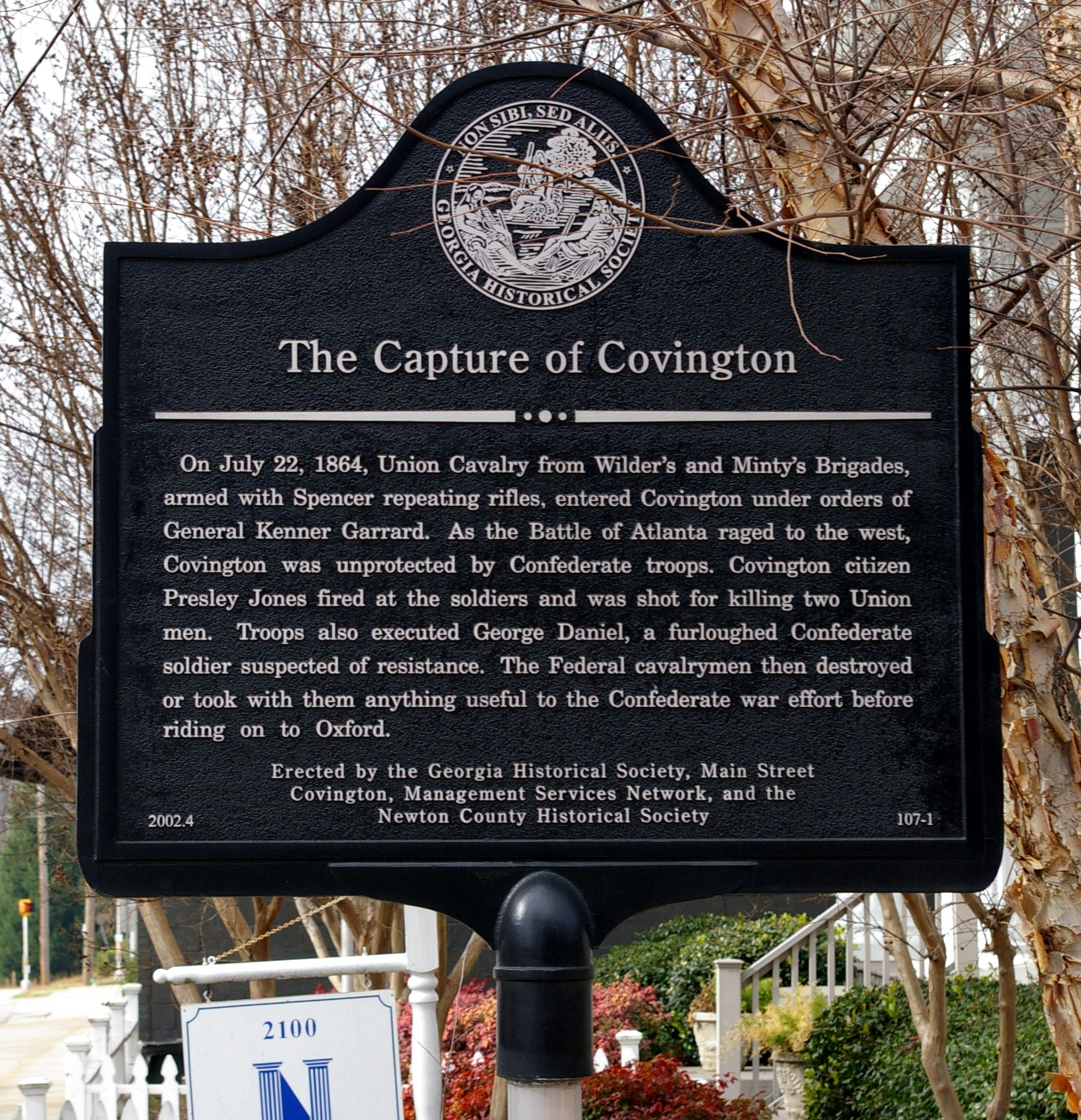 The Capture of Covington Marker