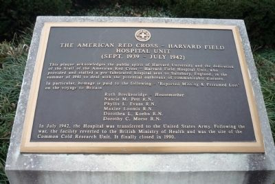 The American Red Cross - Harvard Field Hospital Unity Marker image. Click for full size.