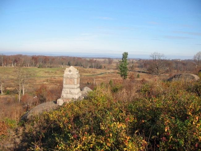 Looking Past the Monument at Plum Run Valley image. Click for full size.
