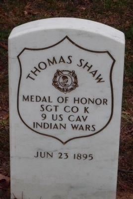 Grave marker for Medal of Honor recipient Sgt. Thomas Shaw, 9th U.S. Cavalry image. Click for full size.