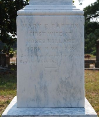Mary E. Barton Tombstone -<br>Holland Tombstone, West Side image. Click for full size.