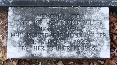 Florence McWhorter Miller Tombstone<br>Old Stone Church Cemetery<br>Pendleton, S.C. image. Click for full size.
