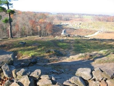 Monument as seen from the Crest of Little Round Top image. Click for full size.