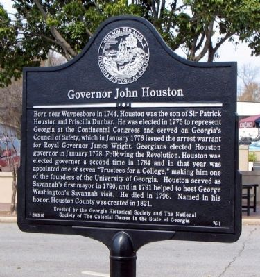 Governor John Houston Marker image. Click for full size.