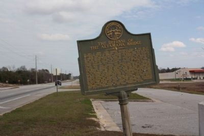 The Defense of the Altamaha Bridge Marker, looking north along US 301 / US25 image. Click for full size.
