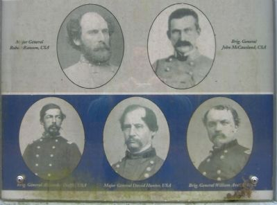 Closeup of portraits on the McCausland Attacks Marker image. Click for full size.