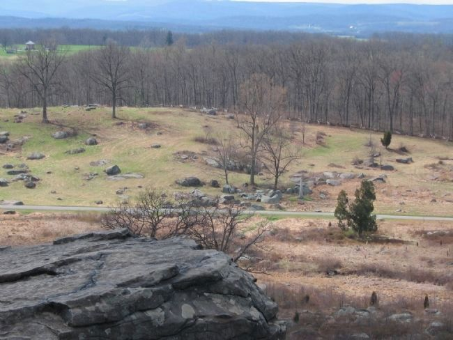 6th New Jersey Volunteers Position Seen from Little Round Top image. Click for full size.
