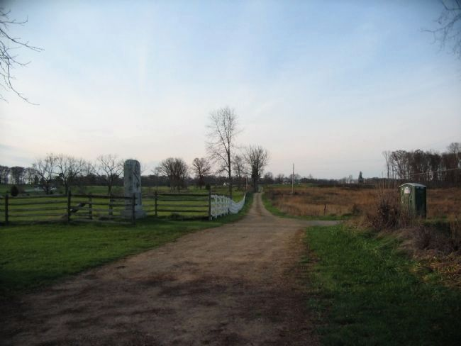 View of Slyder Farm Lane with the Monument image. Click for full size.