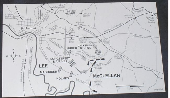 Seven Days Battle Map from Marker image. Click for full size.