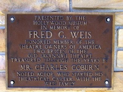 Savannah Theatre Marker, left plaque image. Click for full size.