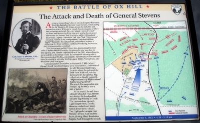 The Attack and Death of General Stevens Marker image. Click for full size.