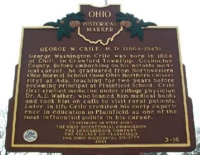 George W. Crile, M. D. Marker (Side A) image. Click for full size.