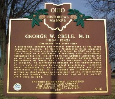 George W. Crile, M. D. Marker (Side B) image. Click for full size.