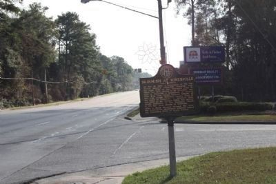 Skirmish at Hinesville Marker, looking south on US 84 at Ryon Ave. image. Click for full size.