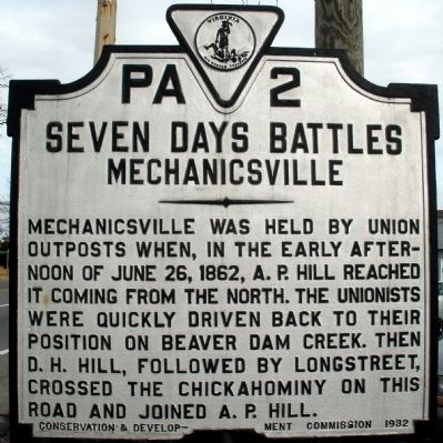 Seven Days Battles - Mechanicsville Marker image. Click for full size.