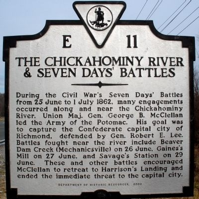 The Chickahominy River & Seven Days' Battles Marker image. Click for full size.