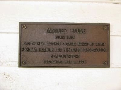 Vasquez House Marker image. Click for full size.