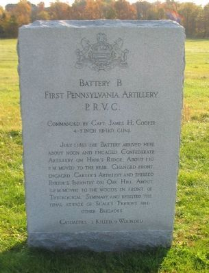 Battery B, First Pennsylvania Artilery Marker image. Click for full size.