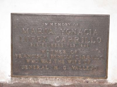 Marker at Tomb of Maria Ygnacia Lopez Carrilo image. Click for full size.