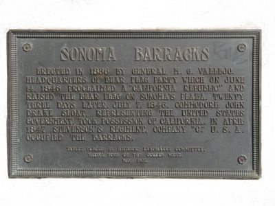 Sonoma Barracks Marker image. Click for full size.