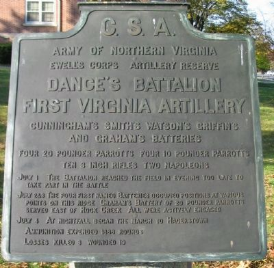 Dance's Battalion - First Virginia Artillery Tablet image. Click for full size.
