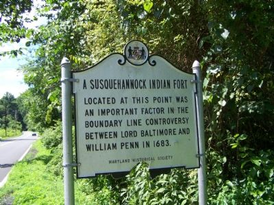 A Susquehannock Indian Fort Marker image. Click for full size.