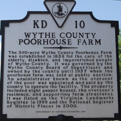 Wythe County Poorhouse Farm Marker image. Click for full size.