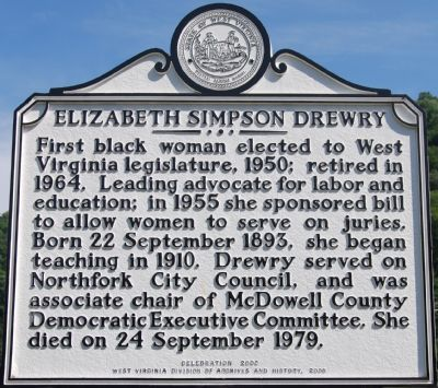 Elizabeth Simpson Drewry Marker image. Click for full size.