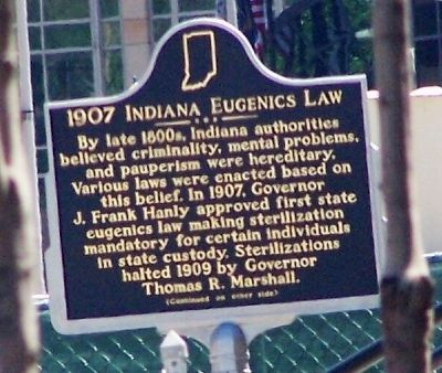 1907 Indiana Eugenics Law Marker </b>(front) image. Click for full size.