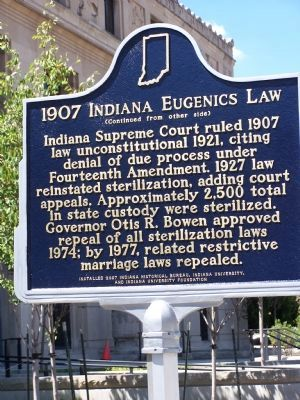 1907 Indiana Eugenics Law Marker </b>(reverse) image. Click for full size.