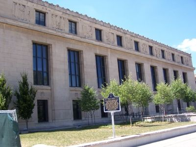 The Indiana State Library and the 1907 Eugenics Law Marker image. Click for full size.