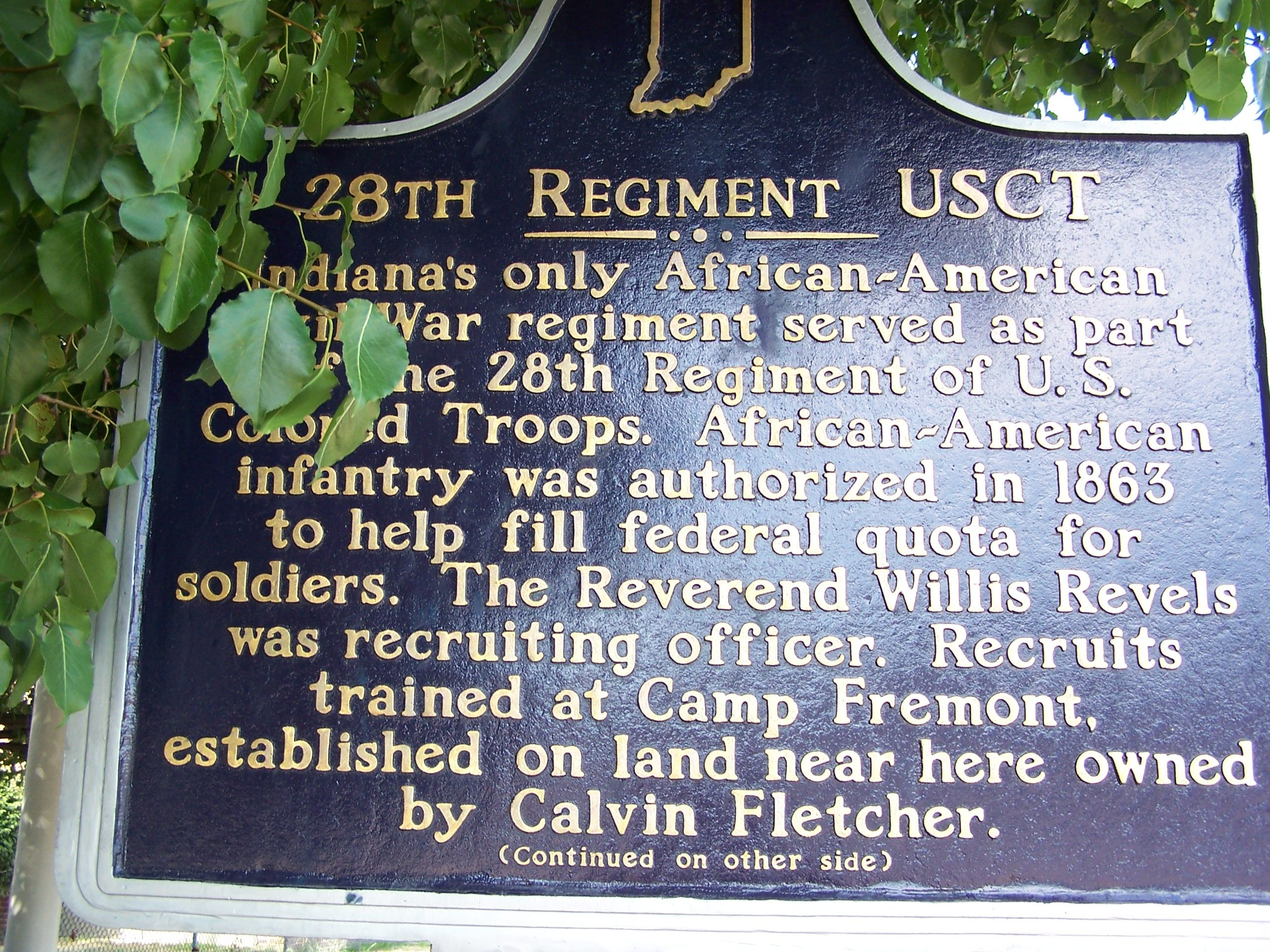 Side One: 28th Regiment USCT Marker