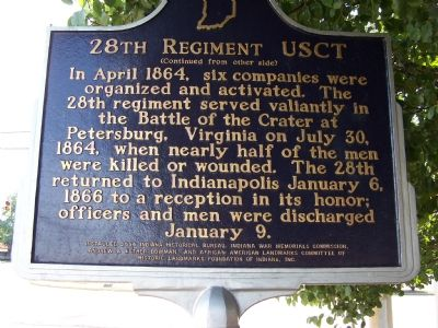 Side Two: 28th Regiment USCT Marker image. Click for full size.