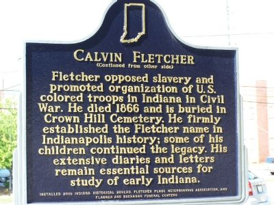 Side Two: Calvin Fletcher Marker image. Click for full size.