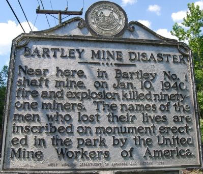 Bartley Mine Disaster Marker image. Click for full size.