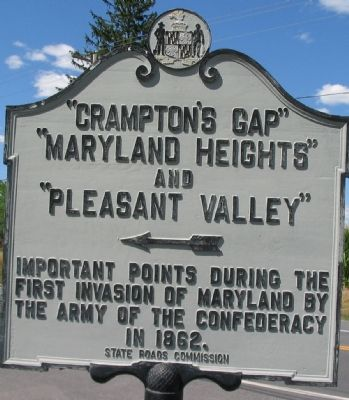 """Crampton's Gap"" ""Maryland Heights"" and ""Pleasant Valley"" Marker image. Click for full size."