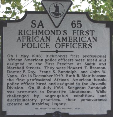 Richmond's First African American Police Officers Marker image. Click for full size.