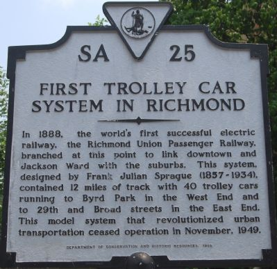 First Trolley Car System in Richmond Marker image. Click for full size.