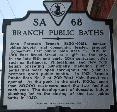 Branch Public Baths Marker image. Click for full size.