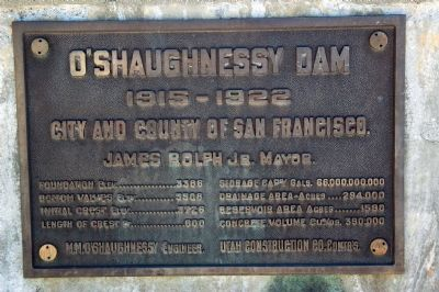 O'Shaughnessy Dam Marker image. Click for full size.