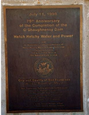 75th Anniversary of the Completion of the O'Shaughnessy Dam image. Click for full size.
