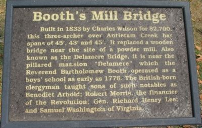 Booth's Mill Bridge Marker image. Click for full size.